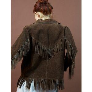 Jackets & Blazers - VTG brown suede leather cowboy fringe jacket